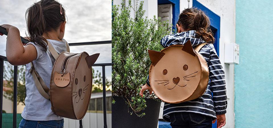 Tutoriel & Patron | Sac à dos en cuir pour petits chats - Maternelle