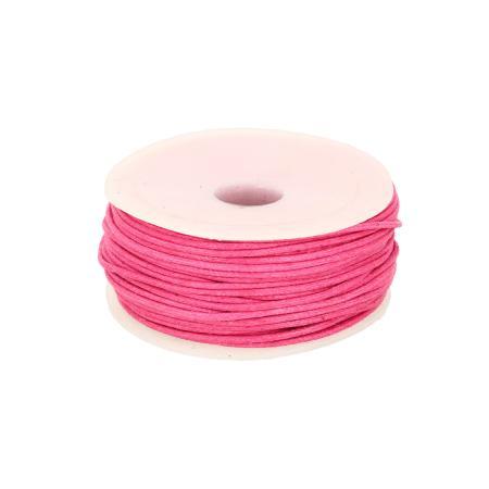 Bobine 25 m lacet coton tressé ciré 1 mm - ROSE FUCHSIA