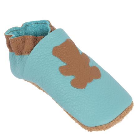 Kit chaussons en cuir pour bébé - Bleu pastel / Fauve / Ours