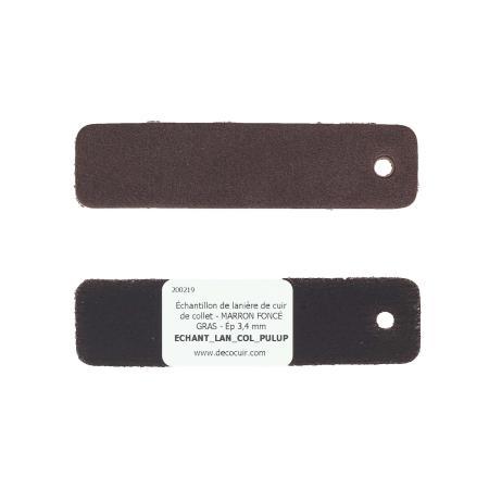Échantillon de lanière de cuir de collet - MARRON FONCÉ GRAS - Ép 3,4 mm