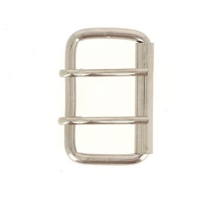 Boucle de ceinture à rouleau à double ardillon - NICKELÉ - 60 mm
