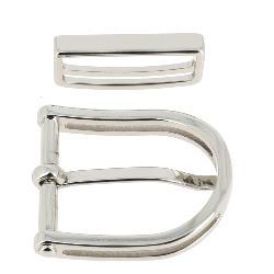 Boucle de ceinture avec passant PIO - NICKELÉ - 30 mm