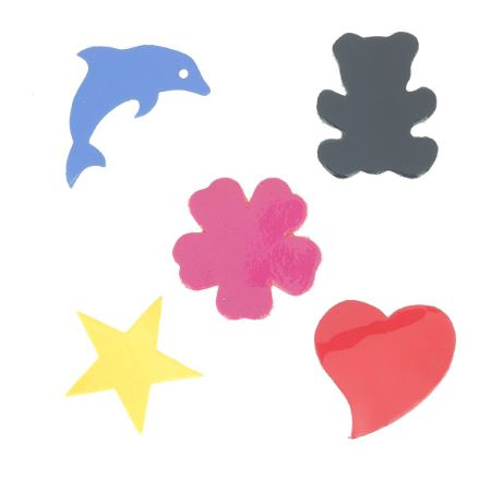 Lot de 5 découpes Ours, Dauphin, Fleur, Étoile, Coeur - Verni - DIVERS