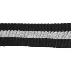 Sangle synthétique NOIR & ARGENT - Largeur 35 mm - 3 mètres