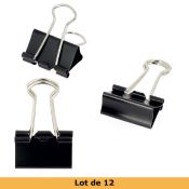Lot de 12 pinces double clip - largeur 19 mm - NOIR