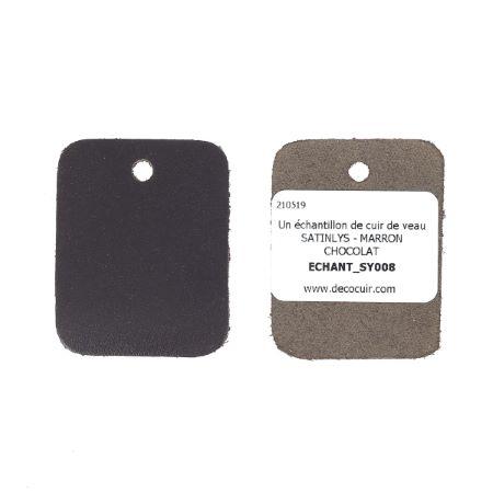 Échantillon de cuir de veau SATINLYS - MARRON CHOCOLAT