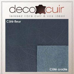 Morceau de cuir de veau grain coton - BLEU JEAN D10