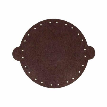 Cuir déjà coupé pour faire une bourse en cuir MARRON FONCÉ - Diamètre 20cm
