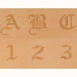 Jeu des 38 lettres et chiffres à frapper - Vieil anglais - 0,63 cm