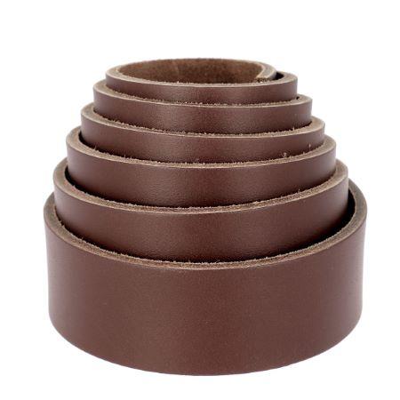 Sangle en cuir MARRON G30 - Croupon de bovin lisse - Largeur 20mm