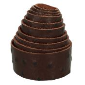 Sangle en cuir CHOCOLAT - Veau imitation autruche - Largeur 30 mm