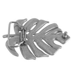 Boucle de ceinturon feuille - LIV - ARGENT VIEILLI - 40 mm