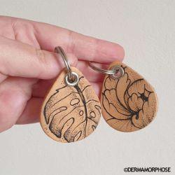 Découpe GOUTTE pour porte clés en cuir PREMIUM naturel à personnaliser