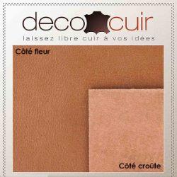 Morceau de cuir de croupon tannage végétal - COGNAC - Ép 3,7mm - 2'choix