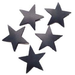 25 étoiles en cuir de vachette bleu marine