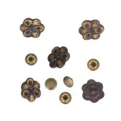 Lot de 5 conchos  FLEUR - 18mm - LAITON VIEILLI