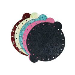 Lot de 5 découpes de croûte de cuir pour bourse - FANTAISIE - diamètre 14,5 cm