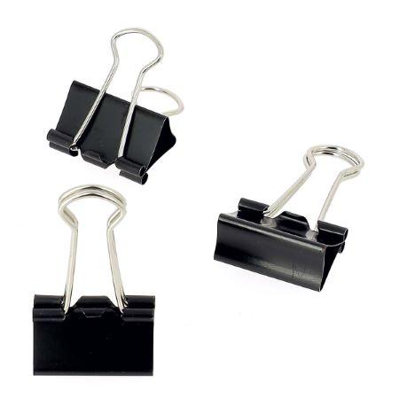 Lot de 10 pinces double clip - largeur 24 mm - NOIR