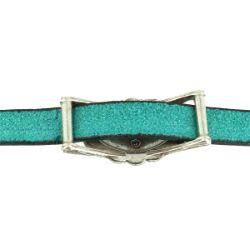 Passant FLEUR avec turquoise - Lanière de 10 mm - Argent vieilli