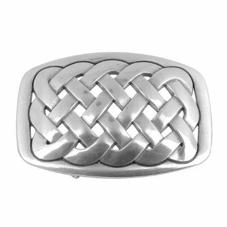 Boucle de ceinturon noeud celtique - EWA - ARGENT VIEILLI - 25 mm