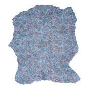 Peau de cuir de chèvre velours grain paille - BLEU C68 - imprimé fleurs