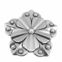 Boucle de ceinturon fleur - TAI - ARGENT VIEILLI - 40 mm