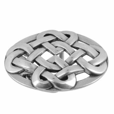 Boucle de ceinturon noeud celtique - ODA - ARGENT VIEILLI - 25 mm