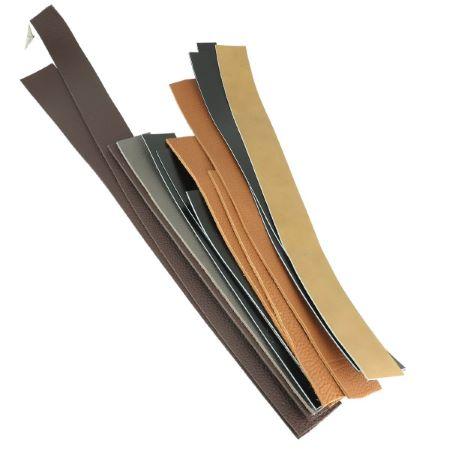 Lot de 250g de lanières de cuir diverses - coloris NOIR et MARRON - Longueur de 20 à 59 cm