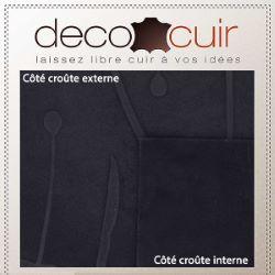 Morceau de croûte de cuir velours - BLEU NUIT A73