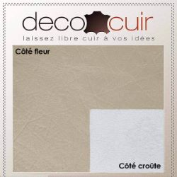 Morceau de cuir de veau grain coton - PLATINE D08