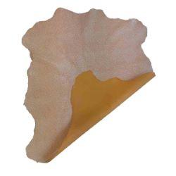 Peau de cuir de chèvre velours - JAUNE D79 - effet craquelé Blanc