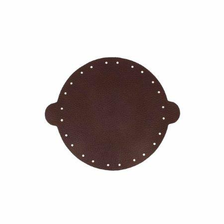 Cuir déjà coupé pour faire une bourse en cuir MARRON FONCÉ - Diamètre 14,5cm
