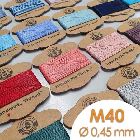 Cartonnette de 8m de fil de lin ciré MeiSi super fine M40 - 0,45 mm