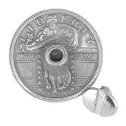 Concho à visser AIGLE 1/4 de DOLLAR - 25mm - Argent vieilli