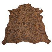 Peau de cuir d'agneau velours imprimé médiéval - CAMEL C31
