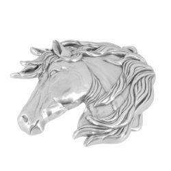Boucle de ceinturon tête de cheval - VAL - ARGENT VIEILLI - 40 mm