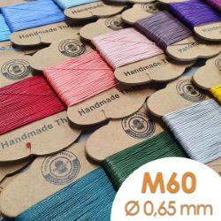Cartonnette de 8m de fil de lin ciré MeiSi super fine M60 - 0,65 mm