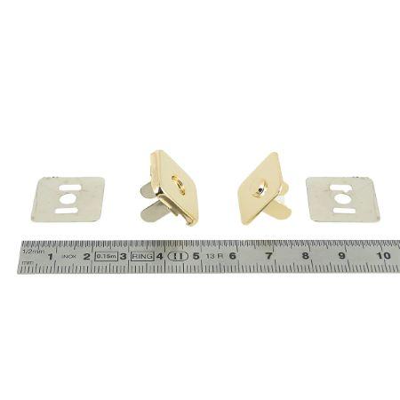TOP magnétic - Fermoir carré - 19x19 mm - Doré clair