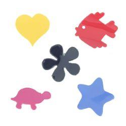 Lot de 5 découpes Poisson, Tortue, Fleur, Étoile, Coeur - Verni - DIVERS