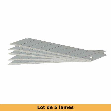Lot de 5 lames de rechange pour cutter 9 mm lame 30° - qualité standard