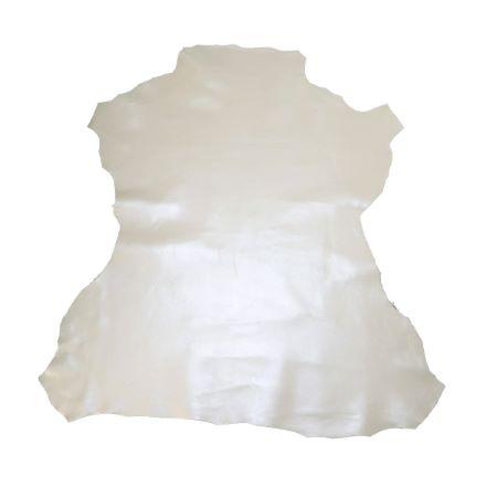 Peau de cuir d'agneau effet métallisé - OR BLANC D17