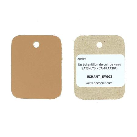 Échantillon de cuir de veau SATINLYS - CAPPUCCINO