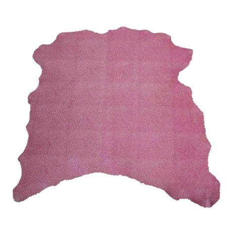 Peau de cuir de chèvre velours - ROSE D81 - effet craquelé Blanc