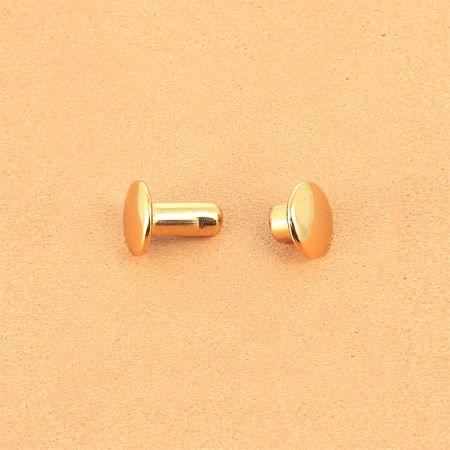 Lot de 100 petits rivets DOUBLE CALOTTE en laiton (T1) finition Doré luxe