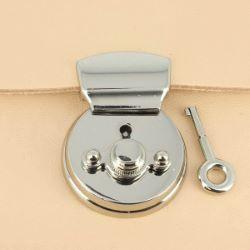 Fermoir bouton poussoir rond avec clé - NICKELÉ - 38 mm
