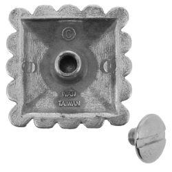 Concho à visser FLEUR carré avec turquoise - 25 mm - Argent vieilli