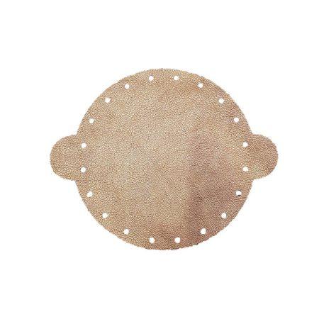 Cuir déjà coupé pour faire une bourse en cuir BRONZE - Diamètre 14,5 cm