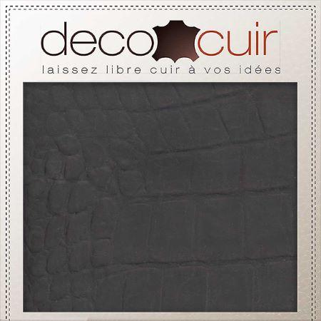 Morceau de cuir de vachette imitation croco - CHOCOLAT B47