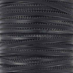 Passepoil en cuir cranté au mètre - Noir