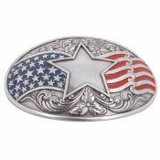Boucle de ceinturon patriote américain - USA - 38 mm - Vieux Nickel